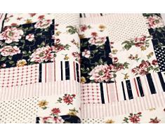 1001 Wohntraum 17jn12 Quilt Elsa Fiori Pois, 220 x 240 cm, Plaid Copriletto, Coperta Patchwork Vintage Shabby