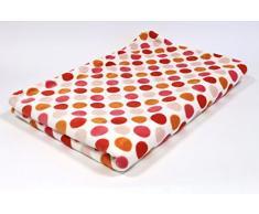 Lifestyle Products - Coperta in microfibra, extra spessa con effetto seta/cashmere, ca. 150 x 200 cm, bianco con pois rossi