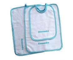 Crociedelizie, Set asilo 3 pezzi tovaglietta bavaglino asciugamano salvietta ricamo nome bimbo personalizzato