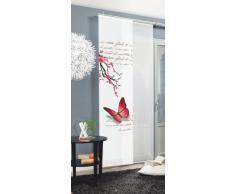 Home fashion Butterfly Tenda a Pannello, Poliestere, Fucsia, 245 x 60 cm