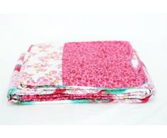 1001 Wohntraum T414 Quilt OBlumen - Trapunta patchwork country shabby, 180 x 220 cm, colore rosa
