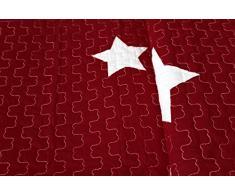 1001 Wohntraum 13d61blue 1 Quilt Sophie stelle Stars - Coperta Plaid coperta, rot / bordeaux, 180 x 220 cm