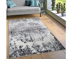 Paco Home Tappeto di Design Tappeti Soggiorno Ornamenti Effetto Vintage Nero Bianco, Dimensione:80x150 cm