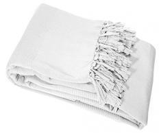 Nuances Du Monde - 3006693, Copridivano , 180 X 220 Cm , Lana , Cotone Tessuto , Bianco