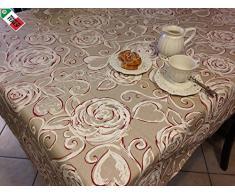 """Tovaglia Cucina Soggiorno """"Amelie"""" Floreale cm 140x300 - Made in Italy, BIANCO"""