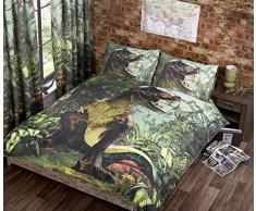 T Rex Double Quilt Set Copripiumino Letto 2Â p/Cases Dinosaur Bedding Dino Jurassic