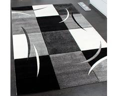 Paco Home Tappeto di Design Orlo Modello A Quadri nei Colori Bianco Nero Grigio, Dimensione:120x170 cm