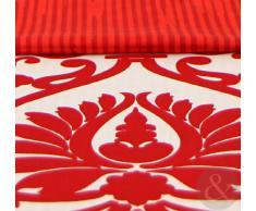 Just Contempo, Set copripiumino, tessuto damasco, piazza e mezza, colore nero, Jewel Red, Doppio
