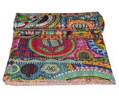 Stallion Cotone Abbigliamento Indiano Cotone Kantha Quilt King copriletti Coperta (Multi Floral) Bohemian copriletto, Bohemian Bedding, Handmade Kantha Quilt, King Size Kantha Quilt, Bed Cover