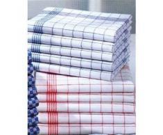 Set di 10 strofinacci - 100% cotone lavabile a 95 ° - resistenti allebollizione - Misure 50 x 70 cm, colore 5 blu e 5 rossi