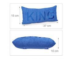 Relaxdays 10020432_555 Cuscino per Vasca da Bagno, Molto Morbido, con Ventose, in Microfibra Inodore, 15 X 37 X 10 cm, Blu