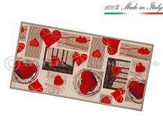 ARREDIAMOINSIEME-nelweb Tappeto Cucina Cuori Tessitura Piatta Retro Antiscivolo Moderno Multiuso corridoio Bagno Camera MOD.TAPIRO33 57X280 Marrone (C)