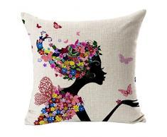 Sannysis® fodere per cuscini federa vintage di cotone stampato floreale divano(Nero)