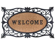 """Esschert Design - Zerbino in gomma a lavorazione artistica, inserto centrale in fibre di cocco decorato con scritta """"Welcome"""", da circa 75 x 45 cm, colore: Nero/Naturale cocco"""