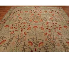 Tappeto in Lana Tradizionale Persiano con Motivo Floreale Orientale, Stile Antico Fatto a Mano, Colore: Beige, 100% Lana, Beige, 5x8(152x244) cm