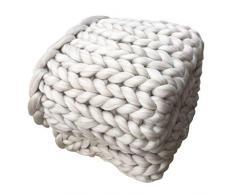 Knitting Wool Blanket Handmade Knitted, SOMESUN mano Chunky coperta a maglia spessa lana ingombranti Knitting tiro (B(80*100cm), Beige)