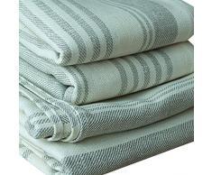 LinenMe 70 x 130 cm set di 4 asciugamani da bagno in lino a tela operata Linum, color crema / blu