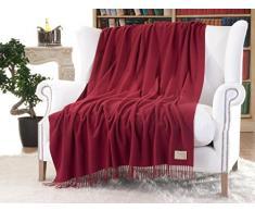 Cashmere, Coperta in 100% cachemire Victoria Rosso Rubino con frange 130 x 220 cm