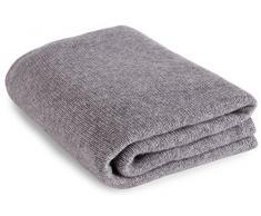 Pregiata Coperta da Viaggio in Cashmere al 100% (Cashmere Blanket) - Grigio Chiaro - Realizzato a mano ad in Scozia con Love Cashmere