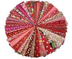 40 pz Tessuti Stampato Cotone Tessuti e Stoffe a Metro Cotone Tessuti Stoffe per Patchwork Scampoli Stoffa Fatansia per Cucito Creativo (20cmx30cm) Rosso