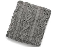 Hill Interiors - Plaid lavorato a maglia (Taglia unica) (Grigio)