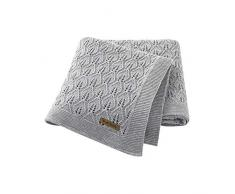 mimixiong Coperta per bambini lavorata a maglia in cotone 100% per, 100 x 80 cm(Grigio)