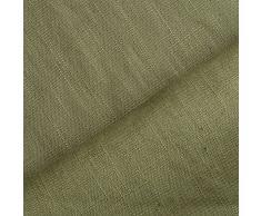 Holmar - tessuto lino prelavato industrialmente - stoffa al metro (oliva)