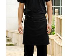 Pixnor Universal donne Unisex uomo cucina cucina vita grembiule grembiule corto cameriere grembiule con tasche doppie