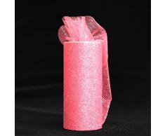 Stoffa in tulle con glitter in rotolo, larghezza 15 cm e lunghezza 22,9 m, per decorazione dark pink