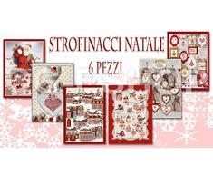 Confezioni Giuliana Set 6 Asciugamani da Cucina Natale Senza Calendario Disegni Assortiti strofinaccio