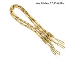 Enjoygoeu 4pz Fermatenda Corda Intrecciata a Mano Pastorale Nappa Corda Maglia Tiene Legate Tende Raccogli Tende Corda (Oro)