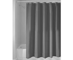 InterDesign Tenda doccia in tessuto, Tende per doccia in poliestere con orlo rinforzato, Tenda bagno lavabile con dimensioni di 183,0 cm x 183,0 cm, grigio scuro