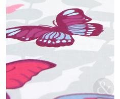 Just Contempo - Copripiumino double-face misto cotone, set di biancheria da letto per bambine, con motivo a pois e secondo motivo a farfalle, Cotone, rosa (bianco viola foglia di tè), copripiumino singolo (da bambini per bambini)