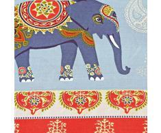 Set Copripiumino etnico stile Indiano con elefanti e motivo cachemire - Biancheria da letto alla moda - Matrimoniale, Policotone, Rosso (celeste blu e giallo)