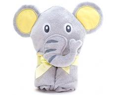 Little Tinkers World Asciugamano Elefante per Bambini EXTRA SOFFICE - Asciugamano da Bagno 100% in Cotone - Perfetto per la Doccia dei Bambini - Per Neonati o Bambini Piccoli