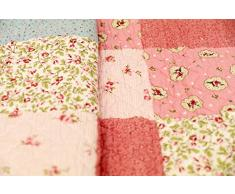 1001 Wohntraum 17jn02r Quilt Emma fiori rosa, 200 x 230 cm, Plaid Copriletto, coperta Patchwork Vintage Shabby, Multicolore