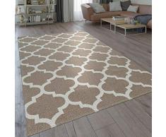 Paco Home Moderno Tappeto dal Tessuto Piatto con Motivo intessuto e Design Marocchino Orientale in Beige, Dimensione:60x100 cm