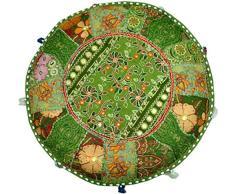 Aakriti Gallery - Copri pouf rotondo in stile etnico, rivestimento decorativo indiano in cotone ricamato per poggiapiedi, ottomana, cuscino - Solo fodera (56 x 35,5 cm) Green