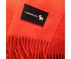 Cofinex 7452-Plaid in cashmere, 125 x 130 cm, colore: rosso fuoco