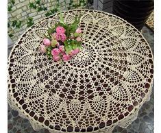 Tovaglia rotonda fatta a mano all'uncinetto, tovaglietta, centrotavola, copridivano per arredamento, matrimoni, decorazioni (HZQ-06-C, 70 cm rotonda) 80cm Diameter