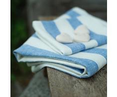 Linenme 100 x 134 cm asciugamano da bagno in lino Philippe, blu
