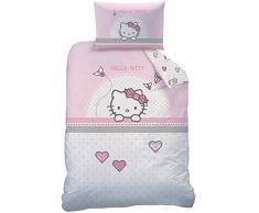 Hello Kitty 045284 KITE Set di biancheria da letto, Cotone, Rosa, 100 x 135 cm