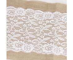 Pixnor Tavola di nozze decorazione tela pizzo Table Runner panno rettangolare 108 x 30cm