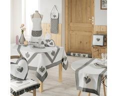 Charme et Douceur Runner da tavola Fanny in poliestere, 40 x 140 cm, colore: grigio/bianco