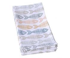 JULES CLARYSSE-Set di 4 strofinacci da cucina Fishmix 50 x 70 cm, colore: blu