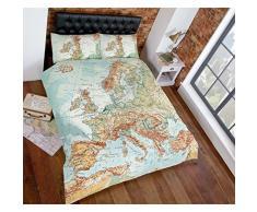 Just Contempo - Copripiumino con stampa vintage di mappa cittadina set di biancheria da letto colore: Verde azzurro e multicolore Cotone Multicolore copripiumino matrimoniale