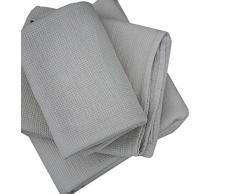 LinenMe 30 x 30 cm set di 4 asciugamani in tessuto lavato Waffle, argento