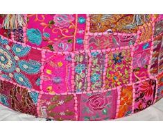 handicraftofpinkcity colore rosa a mano patchwork Pouf copertura ottomano di cotone indiano copriletto vintage decorativo poggiapiedi pouf,