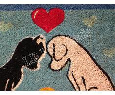 """Lovely Home - Zerbino tappeto in cocco colorato """"Cagnolini"""" - Fondo antiscivolo - cm 40x70"""