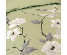 Just Contempo - Copripiumino trapuntato in policotone, di lusso, set di biancheria da letto, con motivo floreale in stile orientale, Misto cotone, oliva (verde grigio panna nero), copripiumino matrimoniale